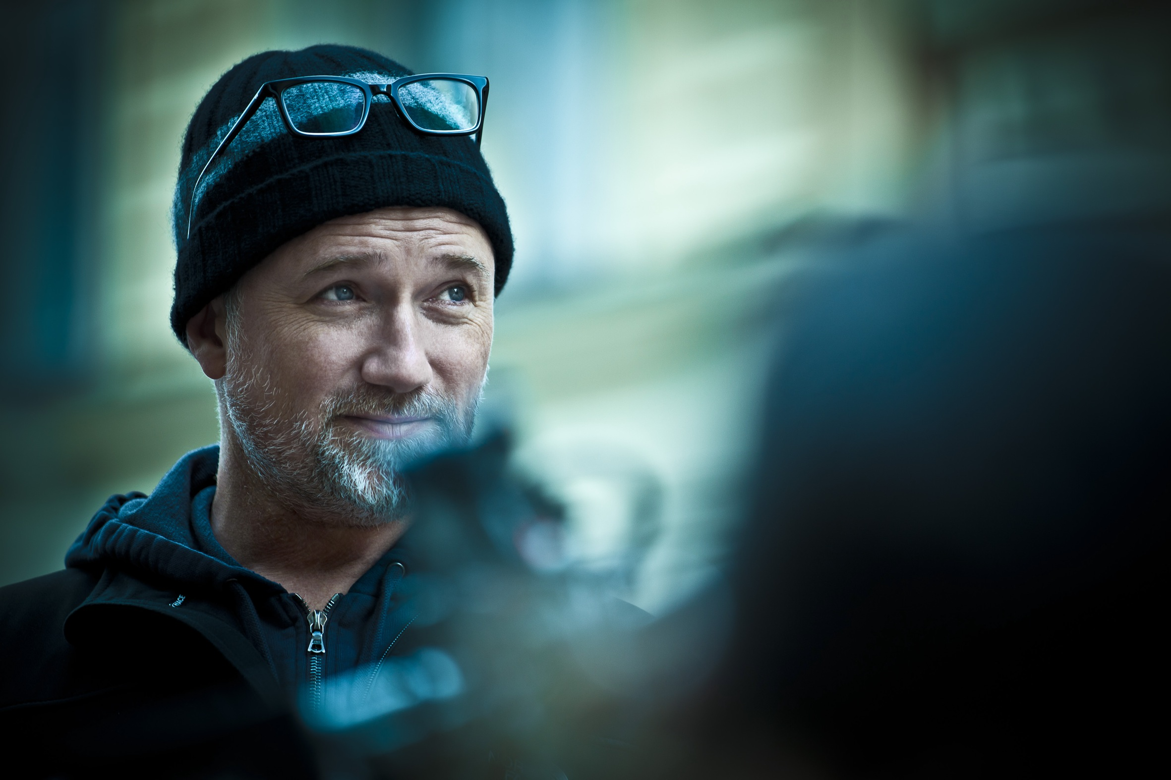Director David Fincher on the set of The Girl with the Dragon Tattoo
