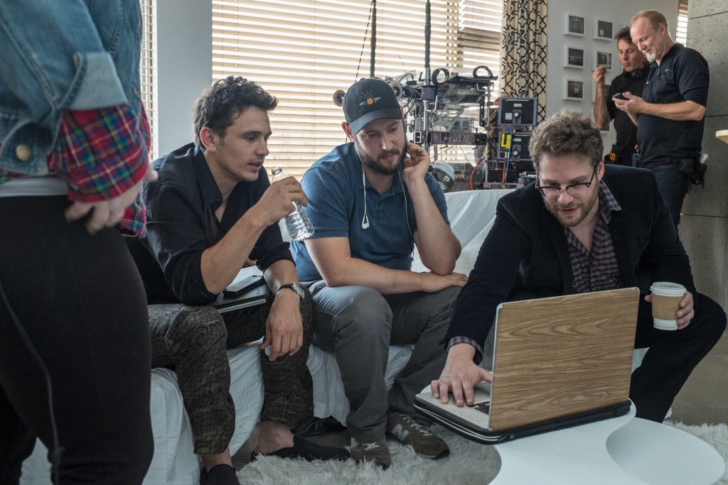 James Franco, Evan Goldberg and Seth Rogen on set of Columbia Pictures´ 'The Interview.'