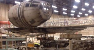 The Millennium Falcon under construction last year at Pinewood Studios outside London.
