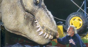 Special Effects master Stan Winston and his animatronic T-Rex on the set of 'Jurassic Park.'